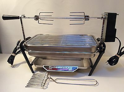 Vintage Farberware Stainless Open Hearth Rotisserie Broiler 450A Fork And Manual