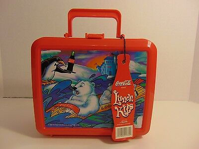 "Coca Cola Polar Bears Aladdin Lunch Box with Thermos 8-1/2"" 1996 New Collectible"