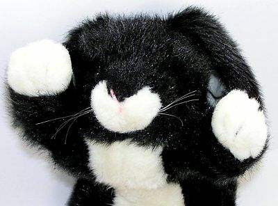 Vintage 1989 Ty Plush Black Bunny Rabbit with White Paws and Belly 18""