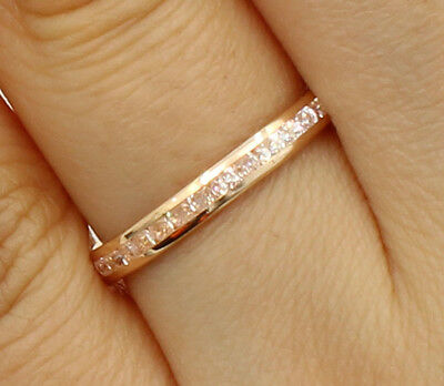 14K Rose Pink Gold Round Channel Eternity Endless Wedding Anniversary Ring Band