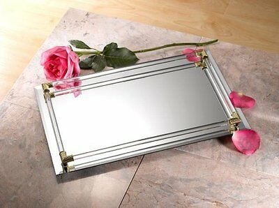 Studio Silversmith - Mirrored Serving Tray (Large) with crystal border