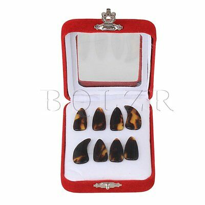 8pcs BQLZR Brown & Yellow Special Plastic Small Size Groove Guzheng Finger Picks