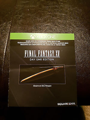 Xbox One Final Fantasy 15 XV Masamune DLC Weapon Game Add On DLC Download Code