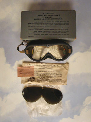 WWII Goggle Set: Flying, Type II R37-G-3810 Original Barely Used