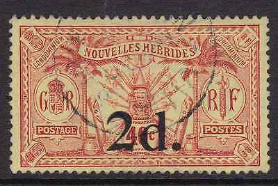 NEW HEBRIDES (Br) - 1920 - Idols & Weapons. 2d. on 40c. Red/Yellow. Fine used