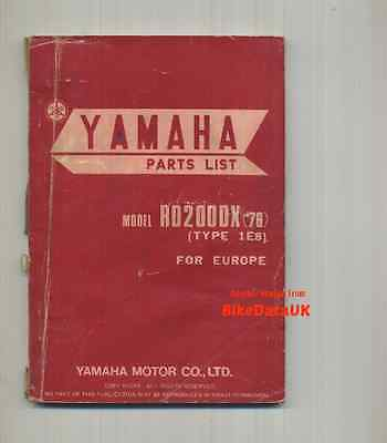 Yamaha RD200DX (1976) Fully Illustrated Parts List Catalogue Book RD 200 DX 1E8