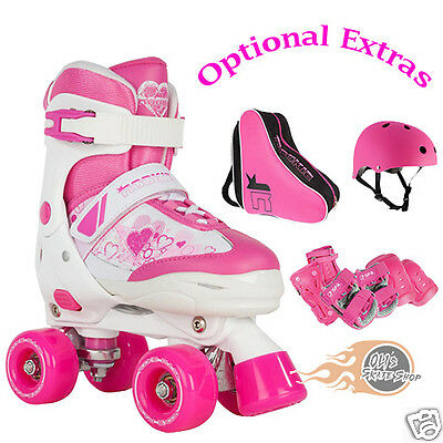 Rookie Pulse Adjustable Quad Roller Skates Pink Optional bag, helmet