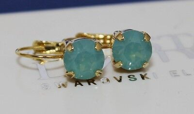 Gold Plated Pacific Opal Leverback Earrings made with Swarovski Crystal Elements