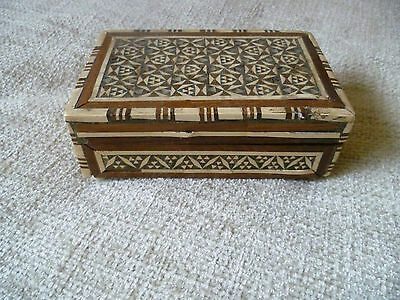 antique  middle eastern small pieces inlaid wood marquetry handmade box