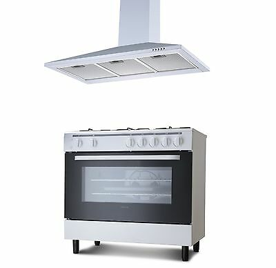 Servis 90cm Gas Range Cooker & Unbranded Chimney Cooker Hood Pack in White