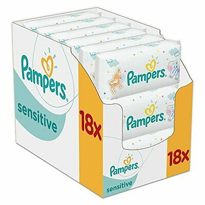Pampers Sensitive Baby Wipes - Pack of 18 (Total 1008 Wipes) OFFER