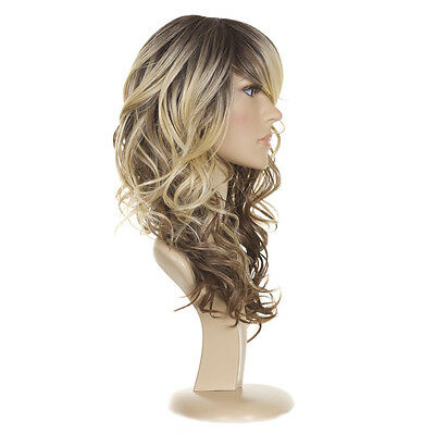Jen Tri Tone Ombre Rooted Balayage Blonde   Long Curly Human Hair Blend Wig