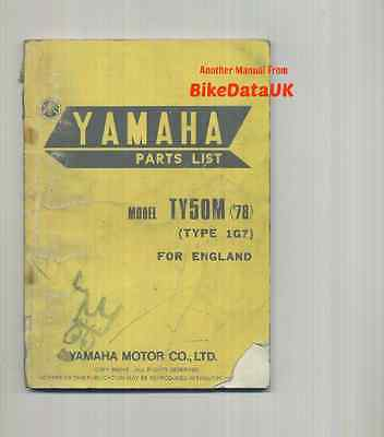 Genuine Yamaha Trials TY50M (1978-on) Parts List Catalogue Manual Book TY 50 M