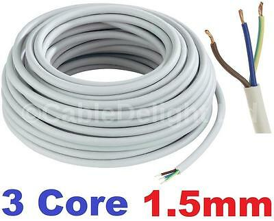 3 Core 1.5mm 16 Amp PVC Flexible Cable 1m 100m Round Flex Electrical Wire WHITE