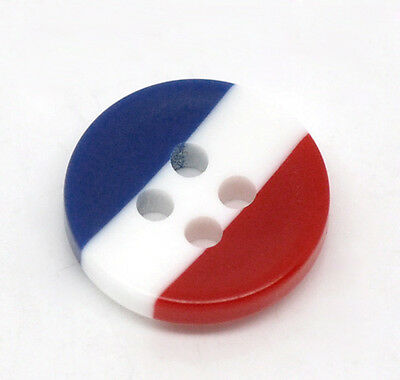 20 x RED, WHITE & BLUE 12mm RESIN BUTTONS FREE SAME DAY POSTAGE **UK SELLER**