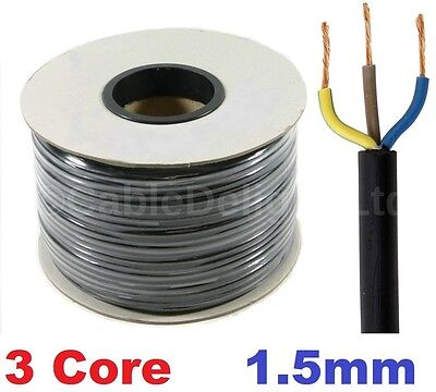 3 Core 1.5mm 16 Amp PVC Flexible Cable 1m 100m Round Flex Electrical Wire BLACK