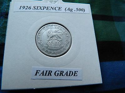 FAIR OR BETTER? 1926 SIXPENCE (Silver .500)  George V