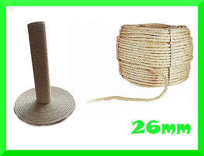 26mm Natural Sisal Rope Twisted Braided,Decking,Garden,Cat Scratching Post,Craft