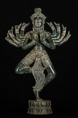 "19th Century Antique Bronze Ardhaparyanka Shiva - 10 Arms - 52cm/21"" Tall"