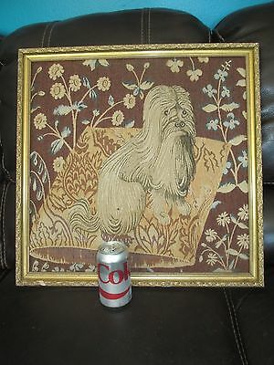 """Framed Dog TAPESTRY Wall Hanging LHASA APSO ? Long Haired Dog  21 3/4"""" x 21 3/4"""""""