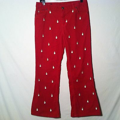 Lands' End Red Corduroy Snowman Christmas Pants YOUTH GIRLS Size 12+ Plus