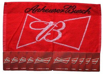 BUDWEISER Pub Bar Towel & 10 matching Beer Mat Coasters