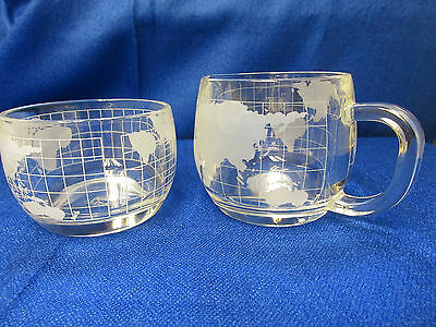Vintage Nestle Global World Etched Glass Cream & Sugar Set