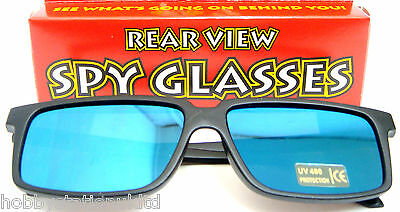 Rear View Spy Glasses Mirror Blue Sunglasses See Behind You Novelty Shades New
