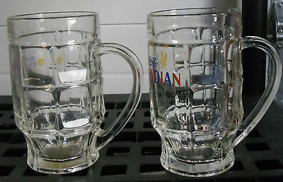 """Set of 2 Molson Canadian Beer Dimpled Glass Steins 0.5 L SAHM 6.25"""" Maple Leaf"""