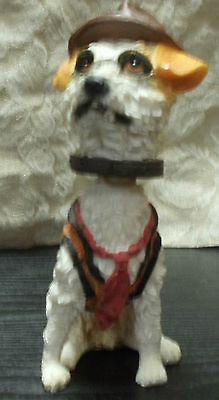 """Bobble Head Resin Dog Figurine Figure with Hat 7"""""""