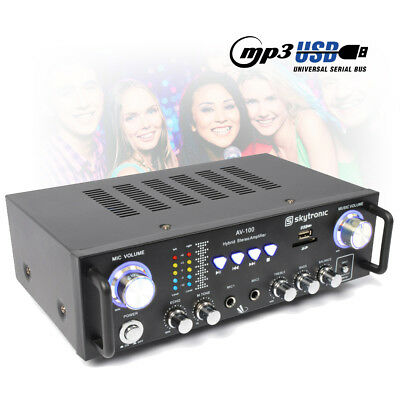 Skytronic AV-100 Karaoke Amplifier Compact Home Audio DJ Party Amp MP3 USB Hi-Fi
