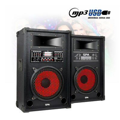 "Pair 10"" Inch Active Party Speakers USB MP3 5 Band EQ DJ Party Mic Inputs 800W"