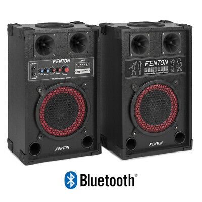 "Pair 8"" Inch Active Party Speakers USB Plug & Play Karaoke System Home DJ 400W"