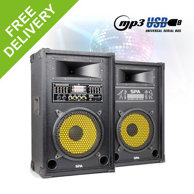 "Pair 10"" Inch Active Karaoke Party Speakers USB MP3 DJ Party Mic Inputs 800W"