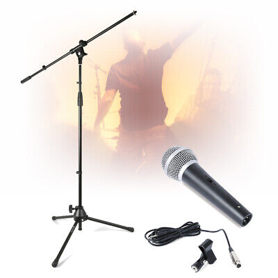 Skytec Microphone Kit Dynamic Mic Gig Stand Cable & Clip Carry Bag Live PA