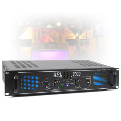 "SPL 2000W 2 Channel Power Amplifier 3 Band EQ AUX 2U 19"" Rack Mount PA DJ Amp"