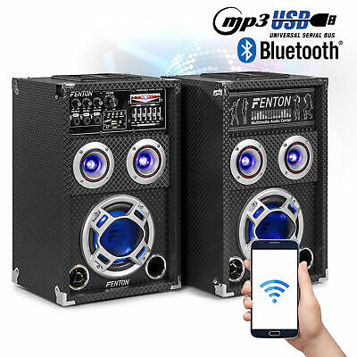 "Pair 6.5"" Active Party Speakers RGB LED USB MP3 Plug & Play Karaoke System 400W"