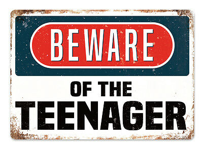 WTF | BEWARE of the TEENAGER | Metal Wall Sign Plaque Art Funny Bedroom