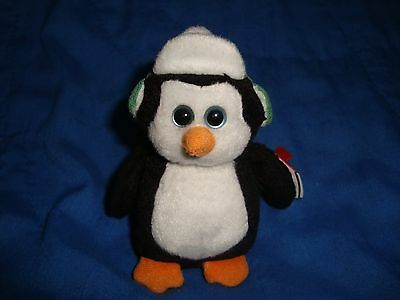 2011 TY Baby Beanies Happy Holidays Toboggan Penguin Christmas ornament 4""