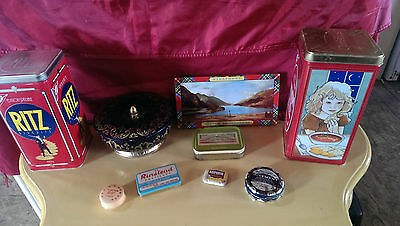 Lot Of 9 Vintage Tins Crackers,cookies,tobacco,ointment,aspirin