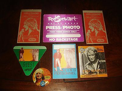 LOT OF 7 Rare ROD STEWART CONCERT MEMORABILIA - BACKSTAGE PASSES, BUTTON