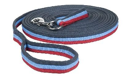 HKM Padded Lunge Rein - Navy - Blue - Red - 8 Metres Long - Stripes - Lunge Line