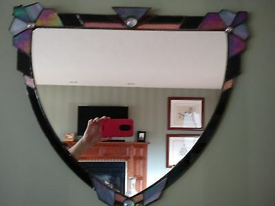 Facets Stained Glass signed mirror