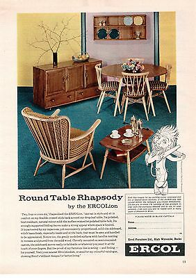 Ercol High Wycombe Lion Dining Furniture Round Table, Chairs 1962 Vintage Advert