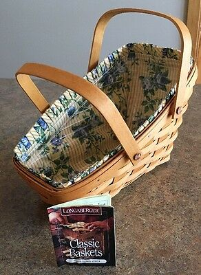 Longaberger 1998 Medium Vegetable Basket 15105  + Rose Trellis Liner + Protector