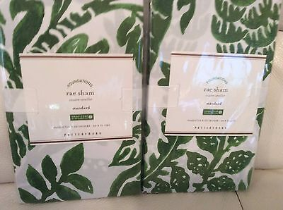 Pottery Barn Two (2)  Rae Stand Shams Floral Nature 100% Cotton Clover Green New