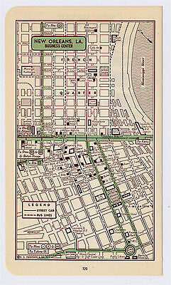 1951 Original Vintage Map Of New Orleans Louisiana Downtown Business Center