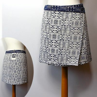 10 or 12 ~ BLUE MIX M/&S INDIGO A-Line WRAP Over MINI SKIRT by LULU KENNEDY ~ 8