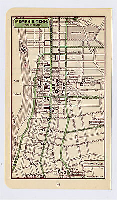 1951 Original Vintage Map Of Memphis Tennessee Downtown Business Center
