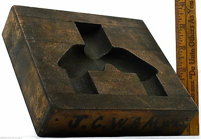 Antique INDUSTRIAL WOOD FOUNDRY MOLD Cute 6x7 Block w/ SCHOOL HOUSE-Looking Void
